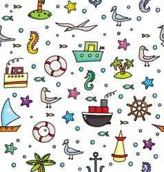 seamless pattern with sea weekends elements a whit vector image