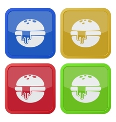 set of four square icons hamburger melted cheese vector image vector image