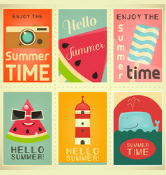 Summer time posters set vector