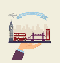 Welcome to london attractions of london on a tray vector