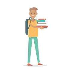 Young man student in earphones with rucksack vector