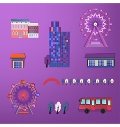 01 City buildings set vector image vector image