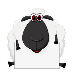 Sheep cartoon sit with sign vector