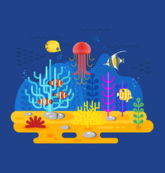 flat style of coral reef with fish vector image