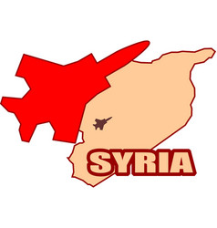 jet bomber above syria map flying vector image