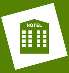 Hotel sign  white icon obtained as a vector