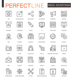 Media advertising thin line web icons set outline vector