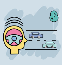 cars on the street and tree to learning drive vector image