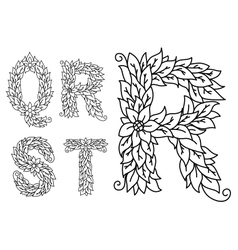 Capital letters q r s t with floral elements vector