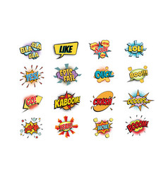 Set of colorful comic speech bubbles shape vector