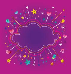 Happy fun bursts explosion cartoon cloud shape ban vector