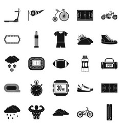 bicycling icons set simple style vector image