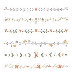 Set of hand drawn floral border elements vector