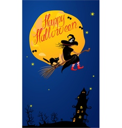 Card of halloween night - witch and black cat vector