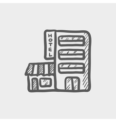 Hotel building sketch icon vector