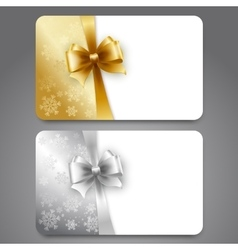 Collection of gift cards with ribbons vector