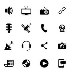 Black media icon set vector