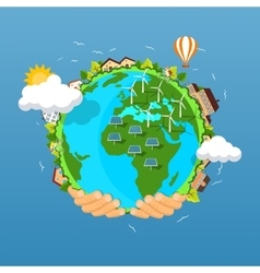 Earth day concept human hands holding floating vector