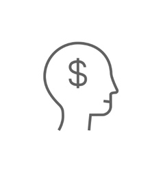 Human head with dollar symbol line icon vector