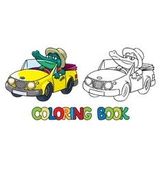Crocodile-driver coloring book vector