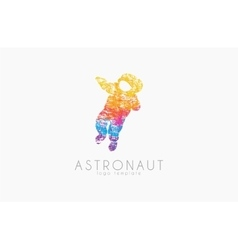 Astronaut logo Colorful logo Grunge slyle vector image