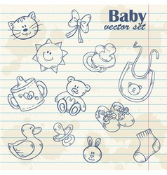Baby toys cute cartoon set on notepaper vector image vector image