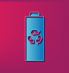 Battery recycle sign blue 3d vector