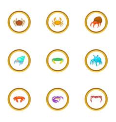 beach wildlife icons set cartoon style vector image