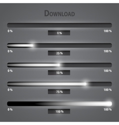 Black and gray lights internet download bars set vector