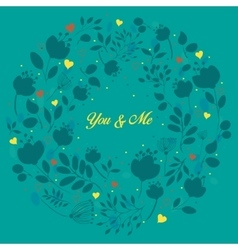 Blue floral ring you and me vector