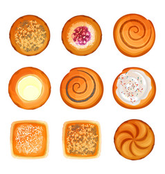 bread rolls round loaves set with sesame sugar vector image