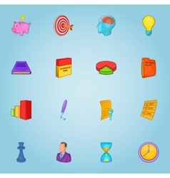 Business icons set cartoon style vector