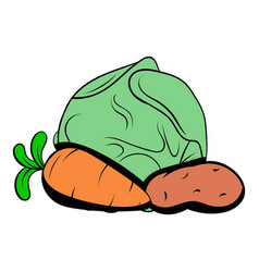 Cabbage carrot potatoe icon cartoon vector