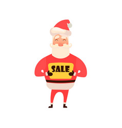 cartoon character santa claus holding a sign sale vector image