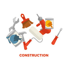 construction tools colorful set isolated on vector image vector image