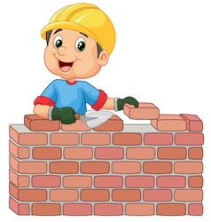 Construction worker laying bricks vector image