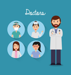 Doctor folded arms and team physician icons circle vector