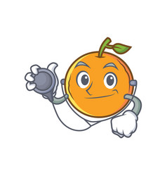 Doctor orange fruit cartoon character vector