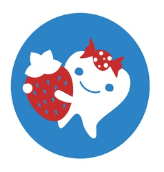 Emblem design with tooth and strawberry vector image