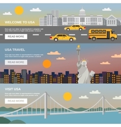 Flat banners set usa travel information vector