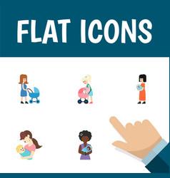 Flat icon mam set of mother child perambulator vector