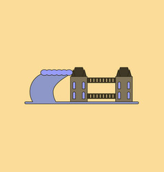 Flat icon stylish background tsunami city vector