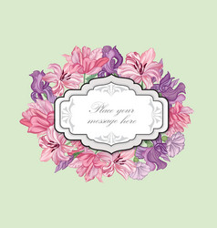 Flower boder floral frame flourish greeting card vector