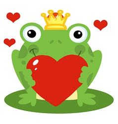 Frog prince holding a red heart vector