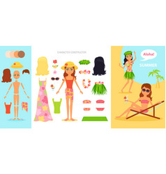 Girl character creation set cartoon flat vector