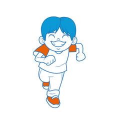 happy boy with big smile celebration cartoon vector image