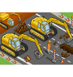 Isometric yellow excavator in front view vector