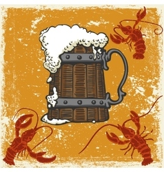 mug with beer and crayfish vector image