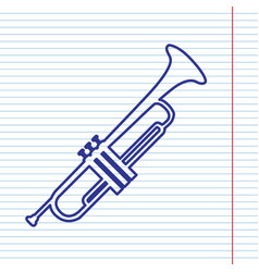 musical instrument trumpet sign navy line vector image vector image