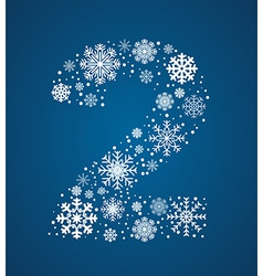 Number 2 font frosty snowflakes vector